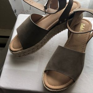 New taupe platform shoes